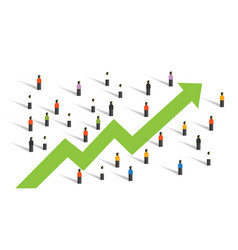 Arrow up around people crowd business chart vector