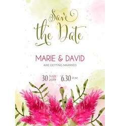 beautiful wedding invitation with watercolor vector image