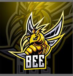 Bee esport mascot logo design vector