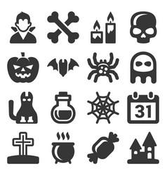 black halloween icons set on white background vector image