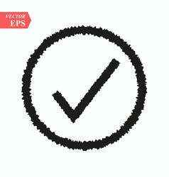 black wave check mark or tick icon in a circle vector image