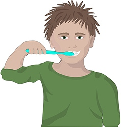 boy brushes his teeth vector image