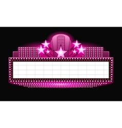 Brightly theater glowing pink retro cinema neon vector