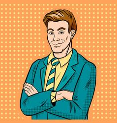 Businessman smiling pop art hand drawn vector