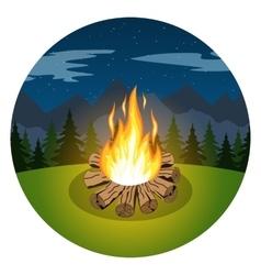 Cartoon bonfire on night landscape vector