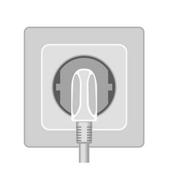 Cartoon gray plug in electric socket vector