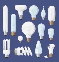 cartoon lamps light bulb electricity design flat vector image
