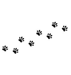 cat dog paw foot print track diagonal footpath vector image