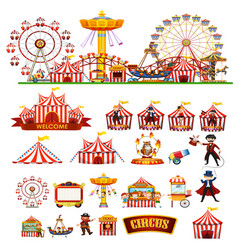 circus theme objects and children isolated vector image