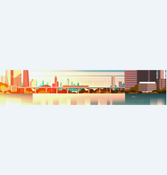 city on sunset urban panorama with high vector image