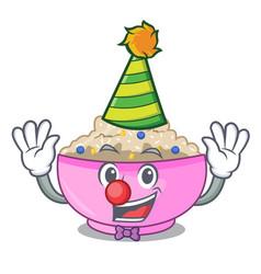 Clown cooked whole porridge oats in cartoon pan vector