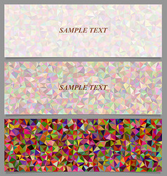 Colorful tiled triangle mosaic banner design set vector