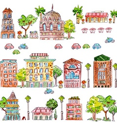 Cute collection of vintage house with trees vector
