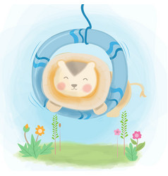 Cute lion playing swing design vector