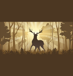 deer in a deep forest horizontal vector image