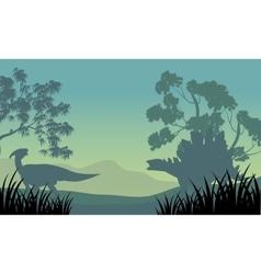 Dinosaur eoraptor and stegosaurus silhouette vector image