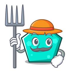 Farmer pentagon character cartoon style vector