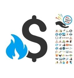 Financial fire icon with 2017 year bonus symbols vector