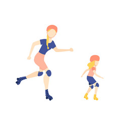 flat girl kid adult woman roller skating vector image