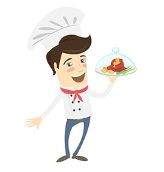 Funny chef serving meat dish vector