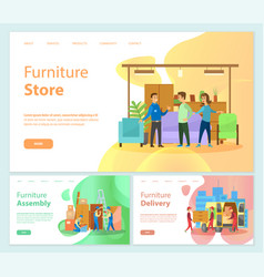 Furniture store online banners delivery service vector