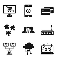 Game dependence icons set simple style vector