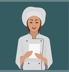 girl cook keeps a piece of paper vector image