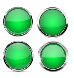 Glass buttons green round 3d buttons with chrome vector