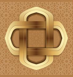 Golden frame on the beige arab background vector