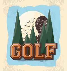 Golf club label with ball vector
