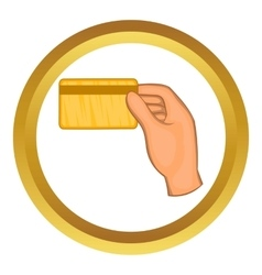 Hand holding a credit card icon vector