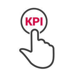 hand presses the button with text kpi vector image