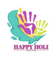 happy holi festival colored palm prints vivid vector image