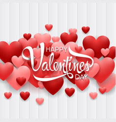 happy valentines day background with red heart vector image