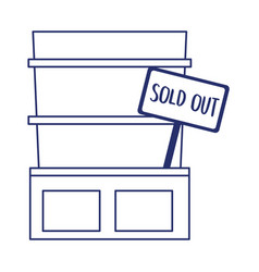 Isolated shopping shelf with sold out banner vector