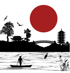 japanese scenery poster vector image