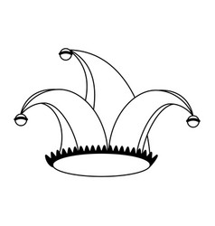 jester hat cartoon isolated in black and white vector image