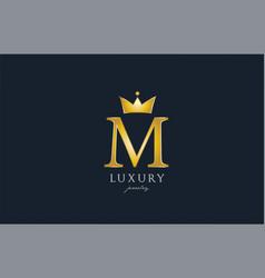 jewelry gold m alphabet letter logo icon creative vector image