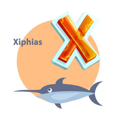 letter x for xiphias cartoon alphabet for children vector image
