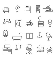 line furniture living room interior design icons vector image