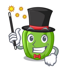 Magician green bell peppers isolated on mascot vector