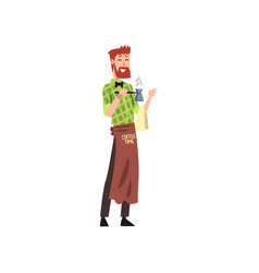 male friendly barista with brown apron making a vector image