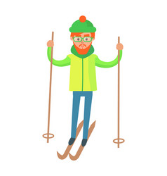 male in winter gear riding on skis with ski poles vector image