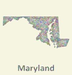 Maryland line art map vector