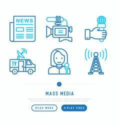 mass media thin line icons set vector image