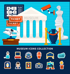 Museum icons collection vector