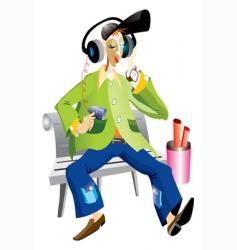 music boy cartoon vector image