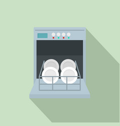 Open dishwasher icon flat style vector