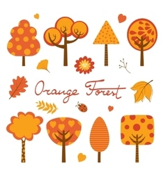 Orange forest colorful collection vector
