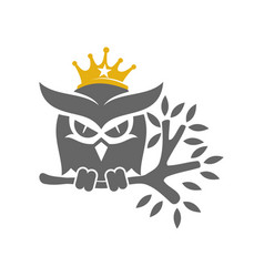 Owl crown trunk logo design template isolated vector